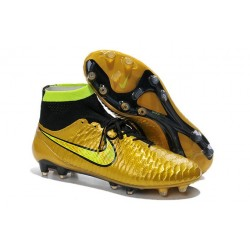 2014 Chaussure de Football Nike Magista Obra FG Or Noir Volt