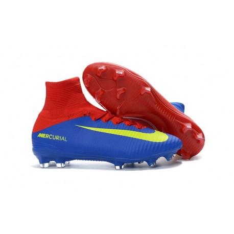 Nouvelles Crampons Nike Mercurial Superfly 5 FG Bleu Rouge Jaune