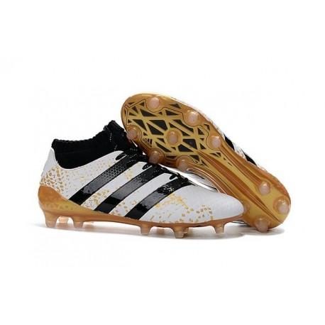 2016 Chaussures adidas ACE 16.1 Primeknit FG/AG Noir Blanc Or