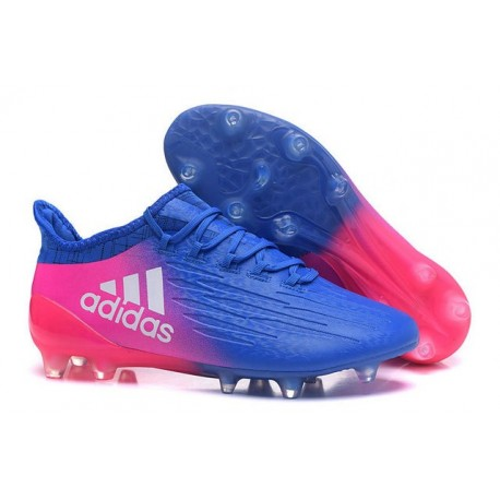 Adidas X 16.1 AG/FG - Nouveau Crampons football Bleu Rose Blanc
