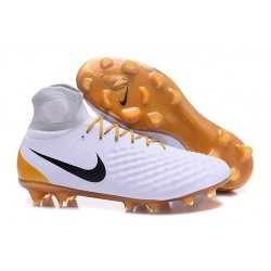 Chaussures de football pour Hommes Nike Magista Obra II FG Blanc Or