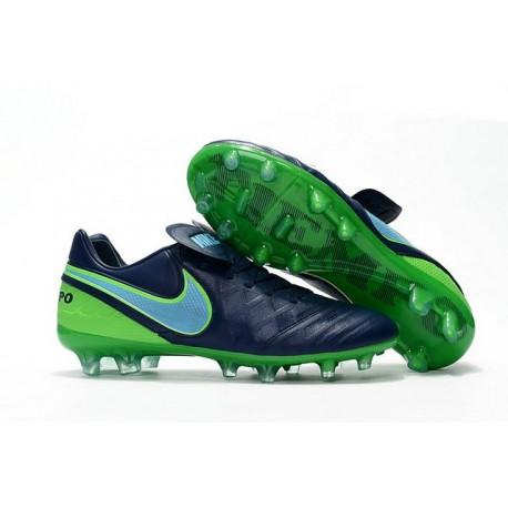 Chaussures Nike Tiempo Legend 6 FG Pas Cher Bleu Mer Bleu Vert