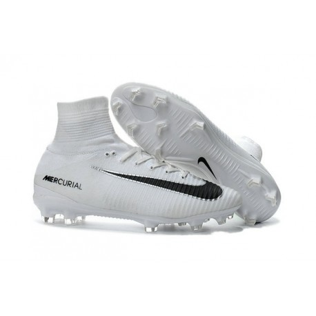 Nouvelles Crampons Nike Mercurial Superfly 5 FG Blanc Noir