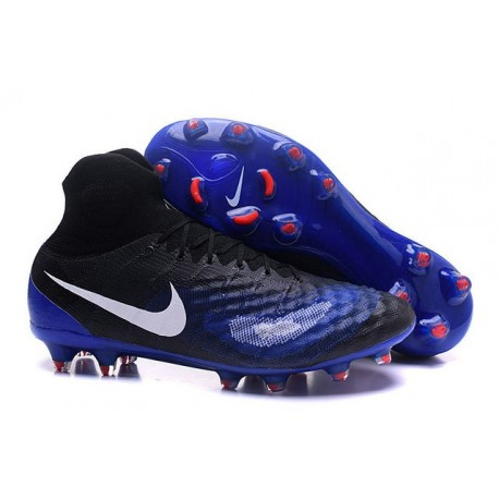 Chaussures de football pour Hommes Nike Magista Obra II FG Noir Bleu Blanc