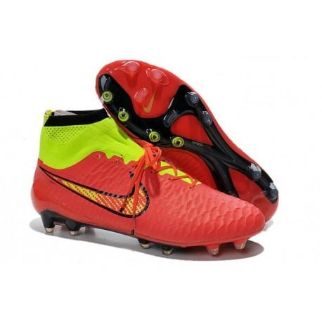 2014 Chaussure de Football Nike Magista Obra FG Rouge Or Vert