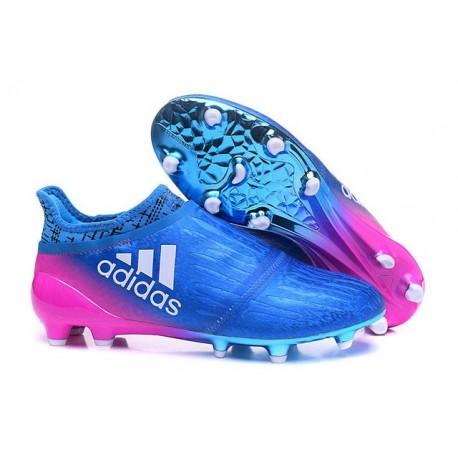 Nouveau Chaussures de footabll Adidas X 16+ Purechaos FG/AG Bleu Rose Blanc