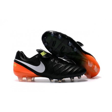Nike 2016 Chaussures Nike Tiempo Legend VI FG Noir Blanc Hyper Orange Volt