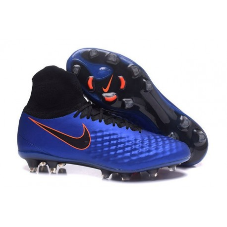Nike Magista Obra II FG Football Crampons Bleu Noir Orange