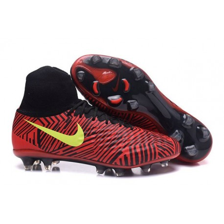 2016 Crampons Nike Magista Obra II FG Football Noir Rouge Jaune