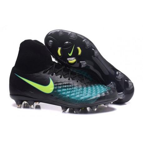 acheter en ligne f70b2 88f64 2016 Crampons Nike Magista Obra II FG Football Noir Bleu Vert