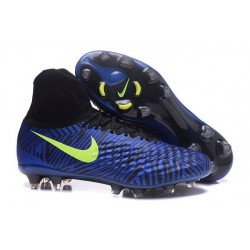 2016 Crampons Nike Magista Obra II FG Football Bleu Noir Volt