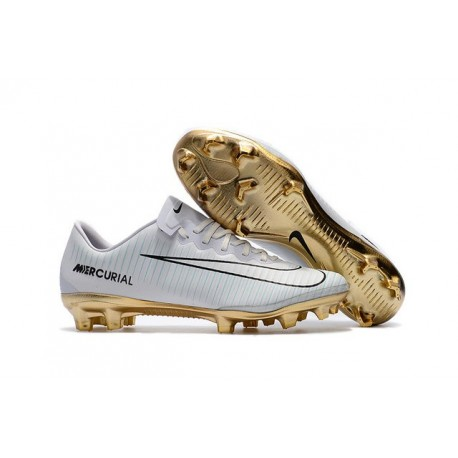 Chaussures de Football 2017 - Nike Mercurial Vapor 11 FG CR7 Vitórias Blanc Or Noir