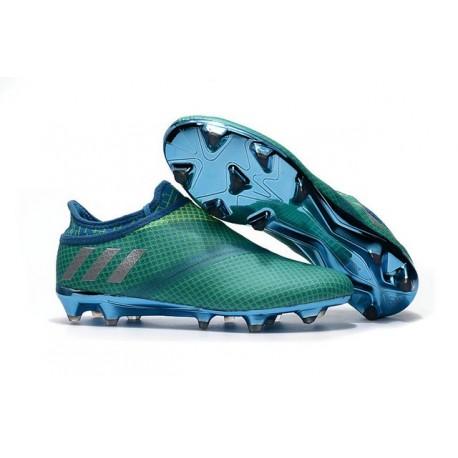 aec5326a8 Chaussures de football Adidas Messi 16+ Pureagility FG/AG Homme Vert Bleu  Argent