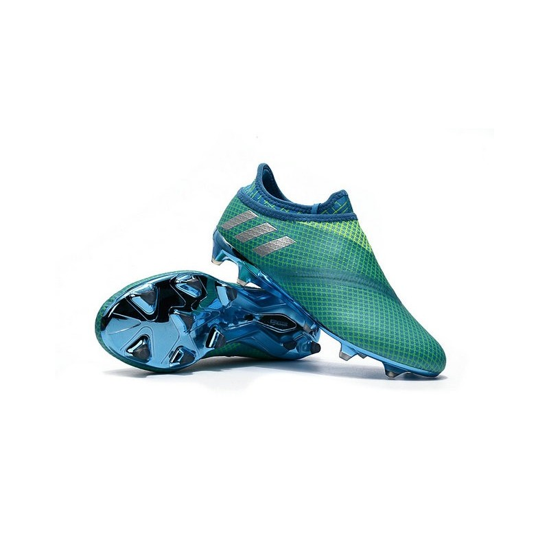 differently e3844 49611 Chaussures De Football Adidas Messi 16 Pureagility FGAG Homme Vert Bleu  Argent