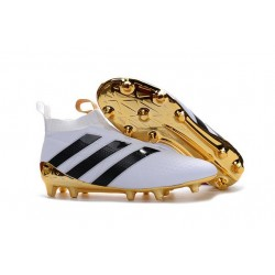 Nouveau Chaussures de Football Adidas Ace16+ Purecontrol FG/AG Blanc Or Noir