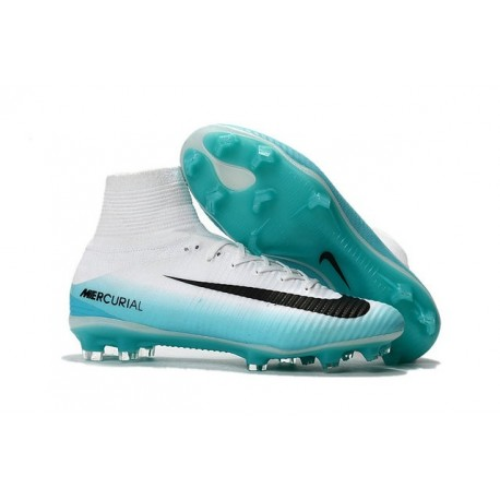 Nike Mercurial Superfly V FG Nouveaux Ronaldo Chaussure - Blanc Bleu Noir