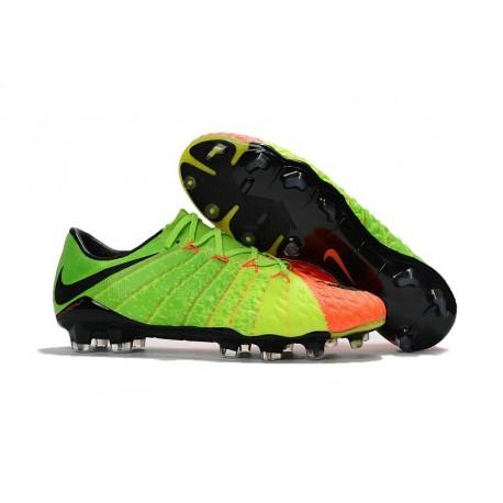 Chaussure de football Hommes 2017 Nike Hypervenom Phantom III FG Vert Orange