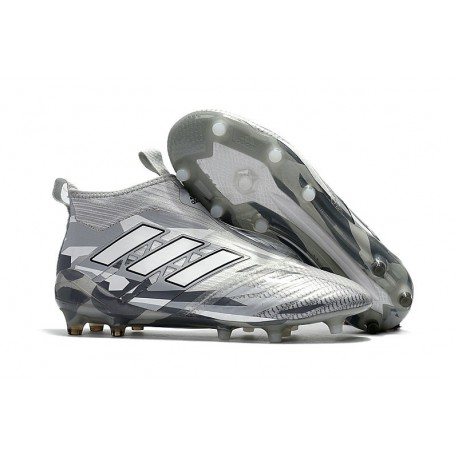 Adidas Nouveau Crampon Foot Ace17+ Purecontrol FG Gris Blanc Noir
