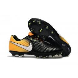 Nouvelle chaussure de foot Nike Tiempo Legend 7 FG Noir Jaune Blanc