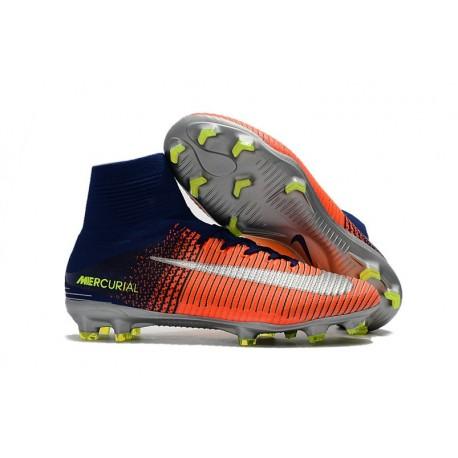 Crampons de Foot Nouveau 2017 Nike Mercurial Superfly 5 FG ACC Orange Vert Argent