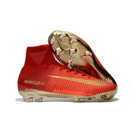 Crampons de Foot Nouveau 2017 Nike Mercurial Superfly 5 FG ACC Rouge Or