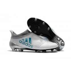 Nouvelle Crampons de Football adidas X 17+ Purespeed FG Blanc Bleu Gris