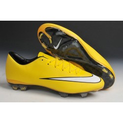 Chaussure de Football sol dur Nike Mercurial Vapor X FG Jaune Blanc