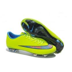 Nouvelle Crampons de Football Nike Mercurial Vapor X FG Vert Bleu
