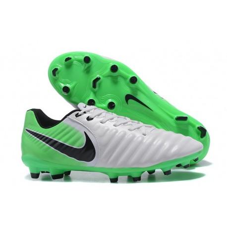 Nouvelle chaussure de foot Nike Tiempo Legend 7 FG Blanc Vert Noir