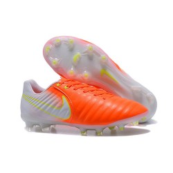 Nouvelle chaussure de foot Nike Tiempo Legend 7 FG Orange Blanc