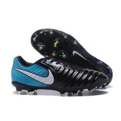 Nouvelle chaussure de foot Nike Tiempo Legend 7 FG Noir Blanc Bleu