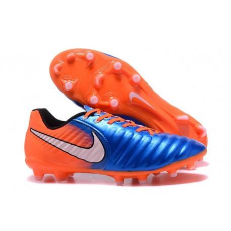 Nouvelle chaussure de foot Nike Tiempo Legend 7 FG Bleu Orange