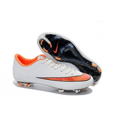 2014 Chaussure de Football Nike Mercurial Vapor X FG Blanc Orange