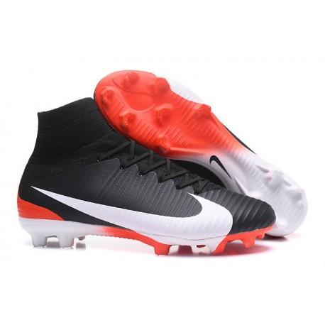 Crampons de Foot Nouveau 2017 Nike Mercurial Superfly 5 FG ACC Noir Blanc Rouge