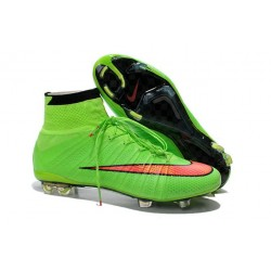 Nouveau Chaussures de Football Nike Mercurial Superfly IV FG Vert Orange