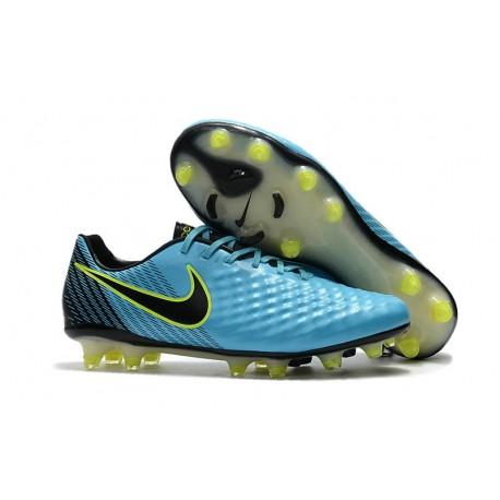 Nouveau Crampons Foot Nike Magista Opus II FG Chaussures Bleu Volt Noir