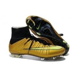 Nouveau Chaussures de Football Nike Mercurial Superfly 4 FG Or Volt Noir