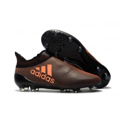 Nouvelle Crampons de Football adidas X 17+ Purespeed FG Orange Noir