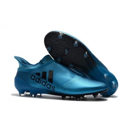 Nouvelle Crampons de Football adidas X 17+ Purespeed FG Bleu Noir