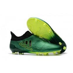 Nouvelle Crampons de Football adidas X 17+ Purespeed FG Vert Noir Volt