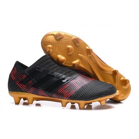 Crampons de Football Hommes - adidas Nemeziz 17+ 360 Agility FG Noir Or Rouge