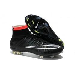 Coupe du monde 2014 Chaussures Nike Mercurial Superfly FG Noir Blanc Rose