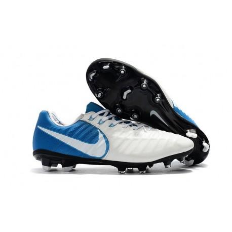 Nouvelle chaussure de foot Nike Tiempo Legend 7 FG Blanc Bleu