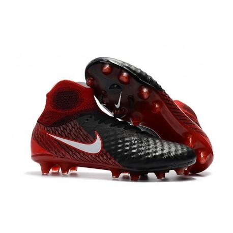 Nike Magista Obra 2 FG Nouveaux 2017 Crampons Foot Noir Blanc Hyper Crimson Clair Crimson
