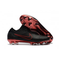 Crampons Pour Hommes - Nike Mercurial Vapor Flyknit Ultra FG Noir Rouge