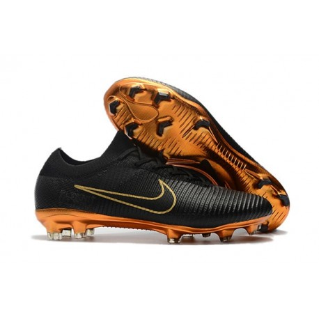 Crampons Pour Hommes - Nike Mercurial Vapor Flyknit Ultra FG Or Noir