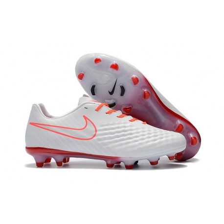 Nouveau Crampons Foot Nike Magista Opus II FG Chaussures Blanc Orange
