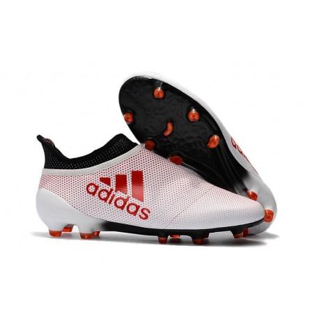 Nouvelle Crampons de Football adidas X 17+ Purespeed FG Blanc Rouge Noir