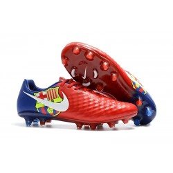 Nouveau Crampons Foot Nike Magista Opus II FG Chaussures Barcelona Rouge Bleu