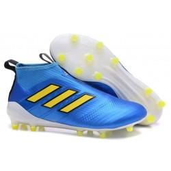 Nouveau Chaussures de Football Adidas Ace16+ Purecontrol FG/AG Bleu Or